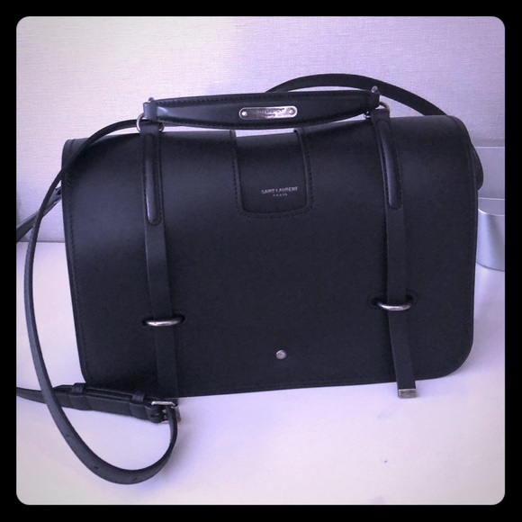 15060c4440 Ysl solid black leather handbag with handle. NWT. Yves Saint Laurent